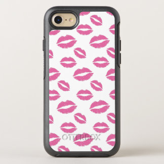 Pink Lips Kiss Pattern OtterBox Symmetry iPhone 7 Case