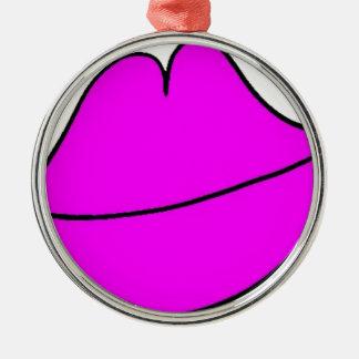 Pink Lips Metal Ornament