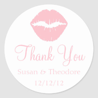 Pink Lips Thank You Stickers