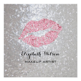 pink lipstick kiss makeup artist personalized perfect poster