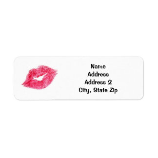 Pink Lipstick Kiss Return Address Label