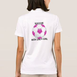 Pink Lipstick Kisses Pink Soccer Ball Polo Shirt