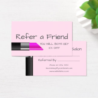 Pink lipstick Unique Refer a Friend Card