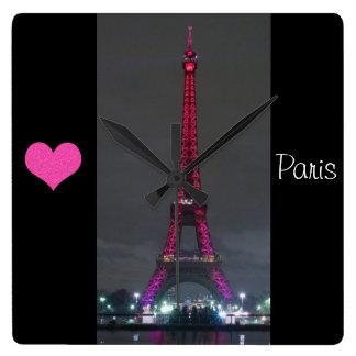 Pink Lites Eiffel Tower  Wall Clock