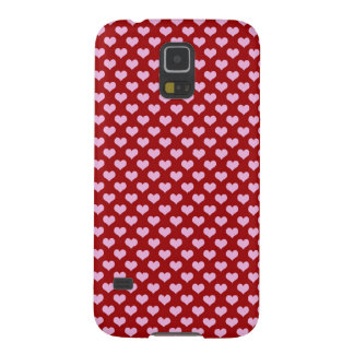 Pink Little Heart Pattern with Red Background Galaxy S5 Cover