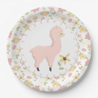 Pink Little Llama Paper Plate
