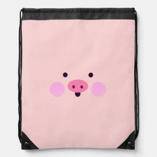 Pink Little Piggy Drawstring Backpack