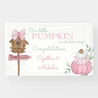 Pink Little Pumpkin Patch Girl Baby Shower Banner