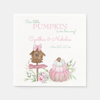 Pink Little Pumpkin Patch Girl Baby Shower Disposable Napkins