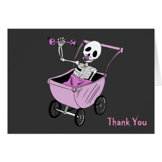 Pink Little Skeleton Baby Shower Thank You Notes