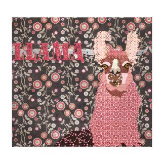 Pink Llama Brown Vintage Floral  Art Canvas