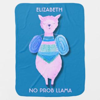 Pink Llama In Pastel Colors No ProbLlama Cool Baby Blanket