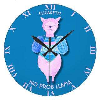 Pink Llama In Pastel Colors No ProbLlama Cool Large Clock