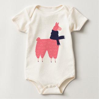 Pink Llama Wearing a Scarf Baby Bodysuit