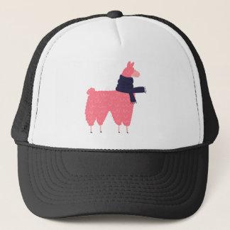Pink Llama Wearing a Scarf Trucker Hat