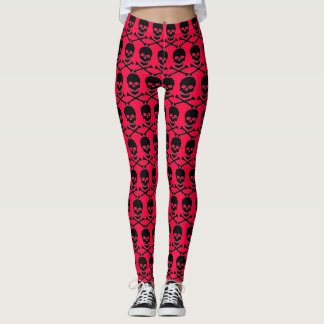 pink Lolita crossbones & skull design for leggings