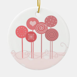 Pink Lollipops Round Ceramic Ornament