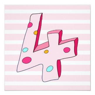 Pink Lolly 4th Birthday Invitation