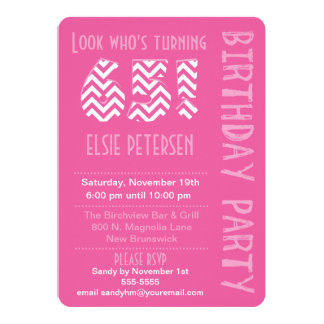 "Pink Look Who's Turning 65 Birthday Invitation 5"" X 7"" Invitation Card"