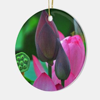 Pink Lotus Blossom Ceramic Ornament