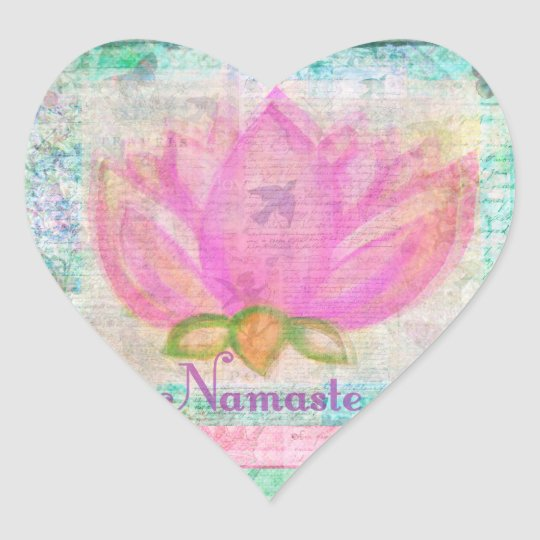Pink Lotus Blossom Namaste yoga Heart Sticker