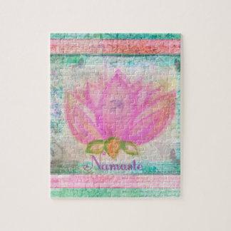 Pink Lotus Blossom Namaste yoga Jigsaw Puzzle