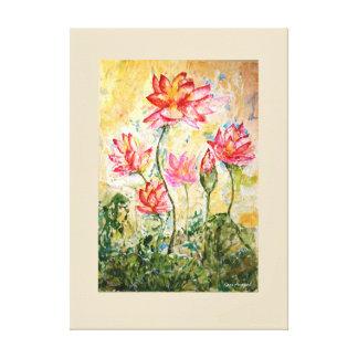 Pink Lotus Floral Watercolor Print Canvas 26x36