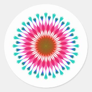 Pink Lotus Flower Blue  Wedding Classic Round Sticker