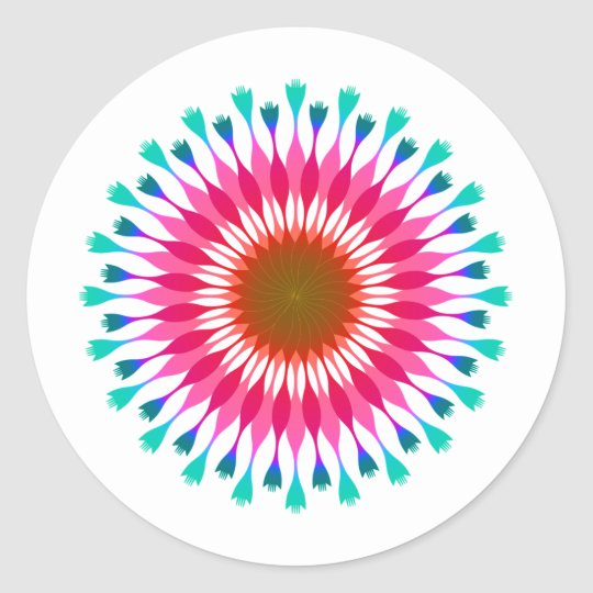 Pink Lotus Flower Blue  Wedding Classic Round Sticker