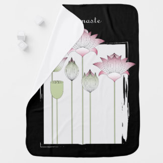 Pink Lotus Flower Elegant Modern Namaste Baby Girl Baby Blanket