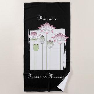 Pink Lotus Flower Namaste Elegant Modern Custom Beach Towel