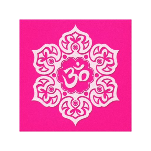 Pink Lotus Flower Om Gallery Wrap Canvas