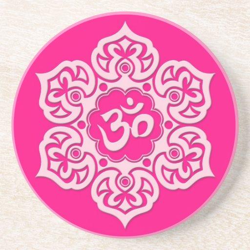 Pink Lotus Flower Om Drink Coasters