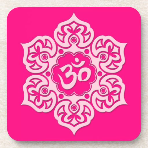 Pink Lotus Flower Om Beverage Coasters