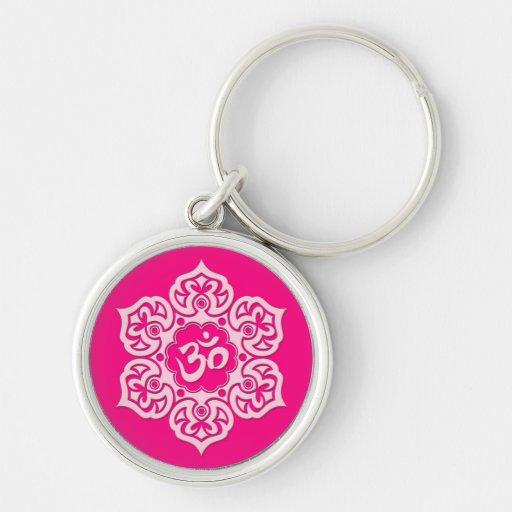 Pink Lotus Flower Om Keychain