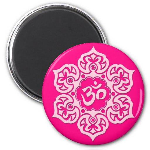 Pink Lotus Flower Om Refrigerator Magnets