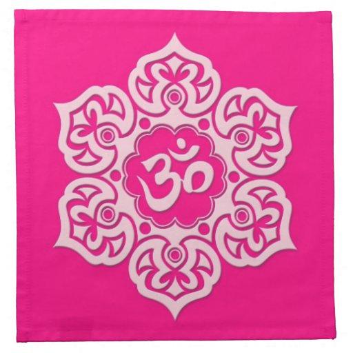 Pink Lotus Flower Om Napkins