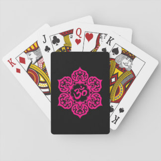 Pink Lotus Flower Om on Black Playing Cards