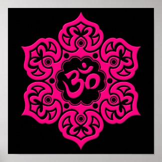 Pink Lotus Flower Om on Black Poster