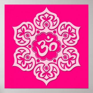 Pink Lotus Flower Om Print