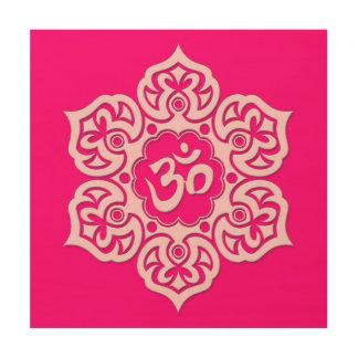 Pink Lotus Flower Om Wood Canvases