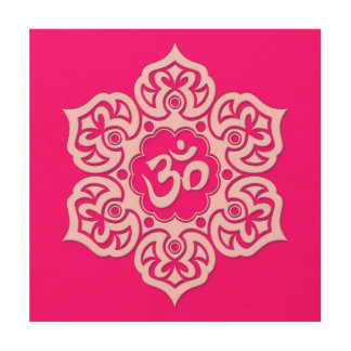 Pink Lotus Flower Om Wood Canvases