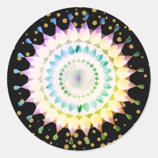 Pink Lotus Flower on Gold Confetti Classic Round Sticker