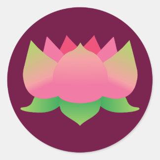 Pink Lotus Flower Round Sticker
