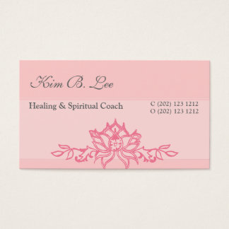 Pink Lotus Flower Yoga Instructor Business Card
