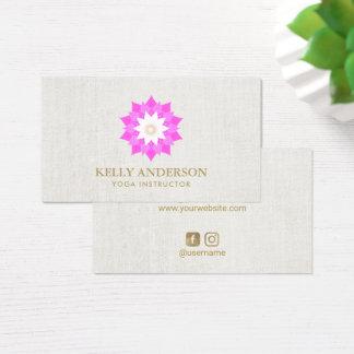 Pink Lotus Flower Yoga Instructor Elegant Linen Business Card
