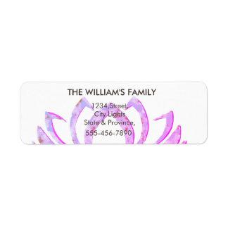 Pink Lotus Flower Yoga Meditation Massage Fitness Return Address Label