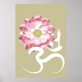 Pink Lotus Flower Yoga White Om Symbol Zen Posters