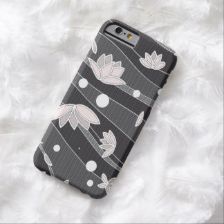Pink Lotus Flowers on Black Stripes Barely There iPhone 6 Case