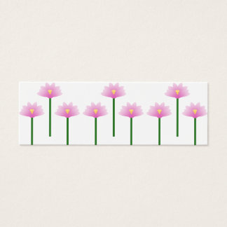 Pink Lotus flowers on green stems Mini Business Card